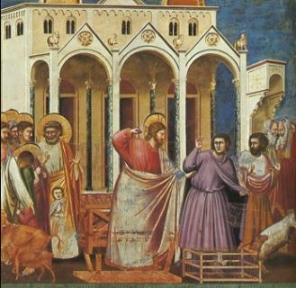 Jesus cleansing the temple. Father's house is not a house for merchants